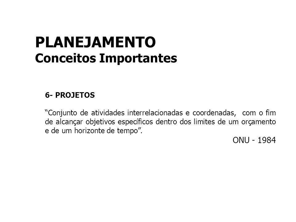 PLANEJAMENTO Conceitos Importantes ONU - 1984 6- PROJETOS