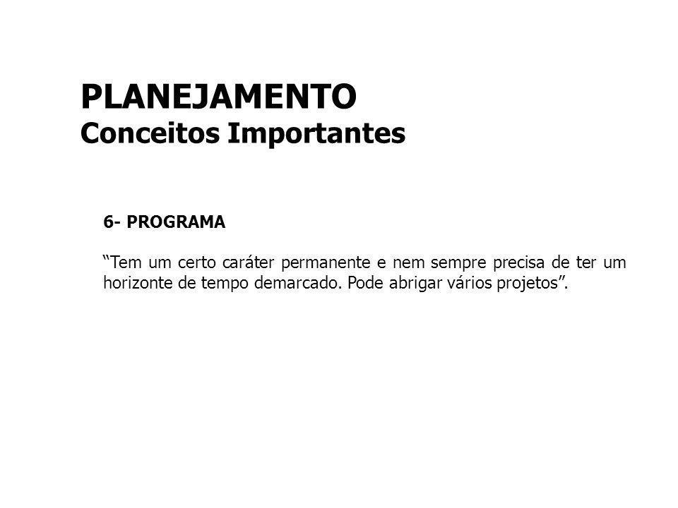 PLANEJAMENTO Conceitos Importantes 6- PROGRAMA