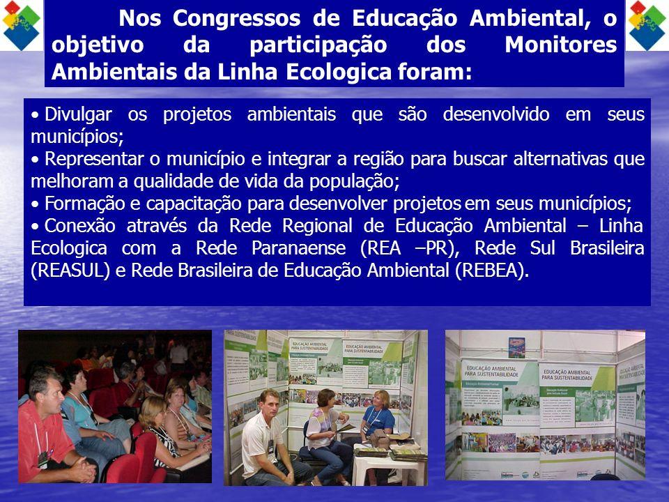 Nos Congressos de Educação Ambiental, o objetivo da participação dos Monitores Ambientais da Linha Ecologica foram: