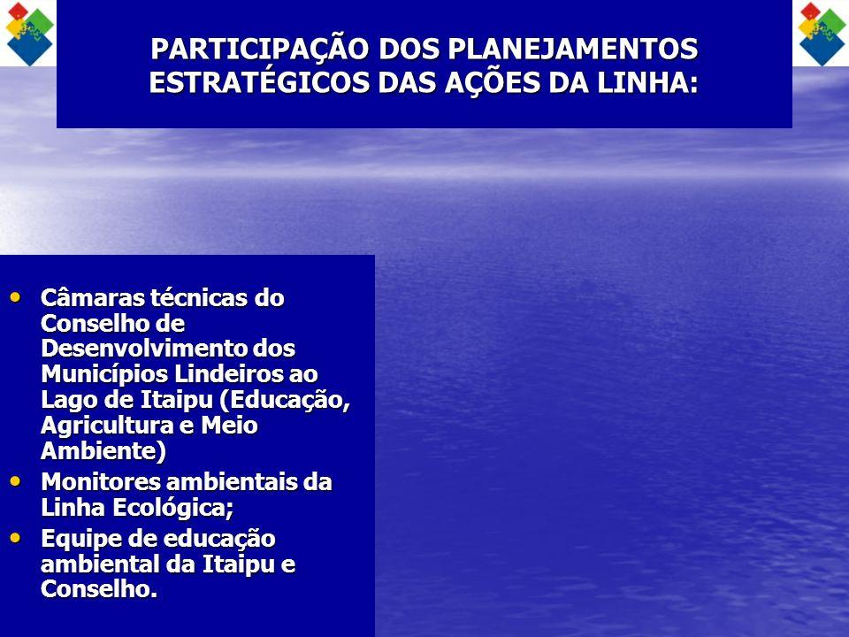PARTICIPAÇÃO DOS PLANEJAMENTOS ESTRATÉGICOS DAS AÇÕES DA LINHA: