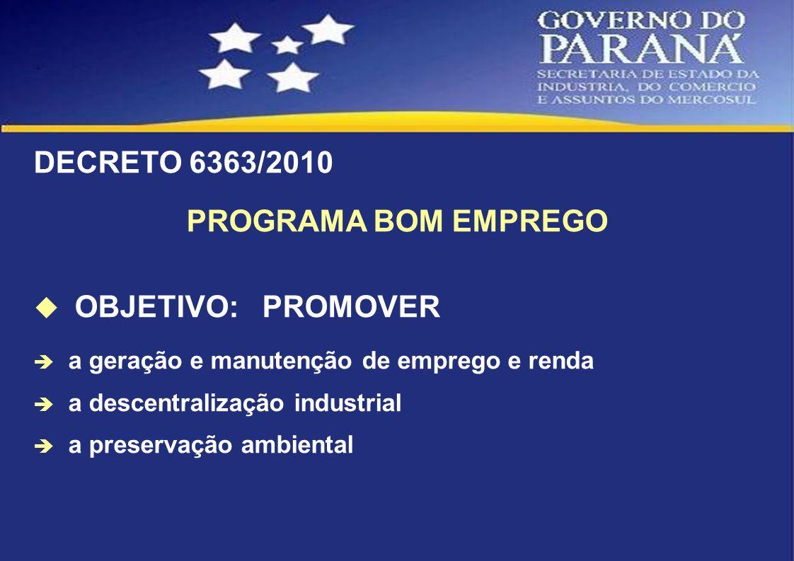DECRETO 6363/2010 PROGRAMA BOM EMPREGO OBJETIVO: PROMOVER