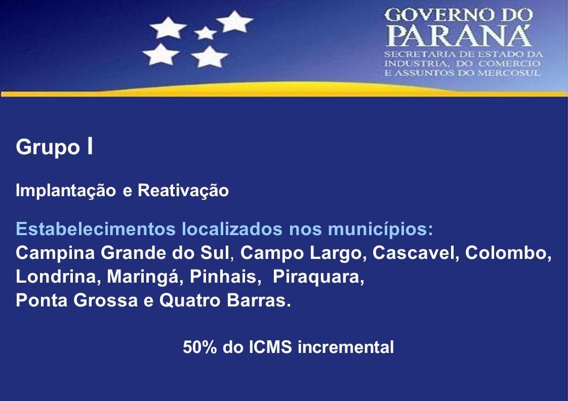 Grupo I Estabelecimentos localizados nos municípios: