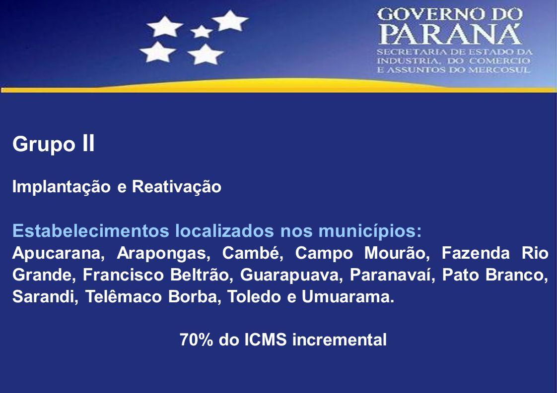 Grupo II Estabelecimentos localizados nos municípios: