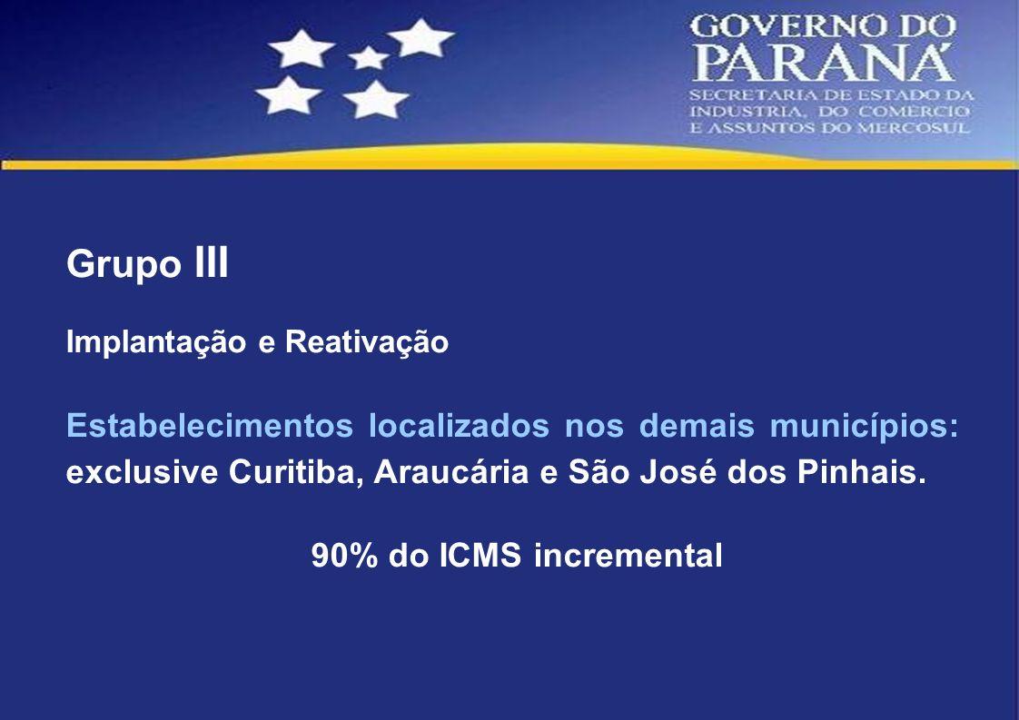 Grupo III Implantação e Reativação. Estabelecimentos localizados nos demais municípios: exclusive Curitiba, Araucária e São José dos Pinhais.