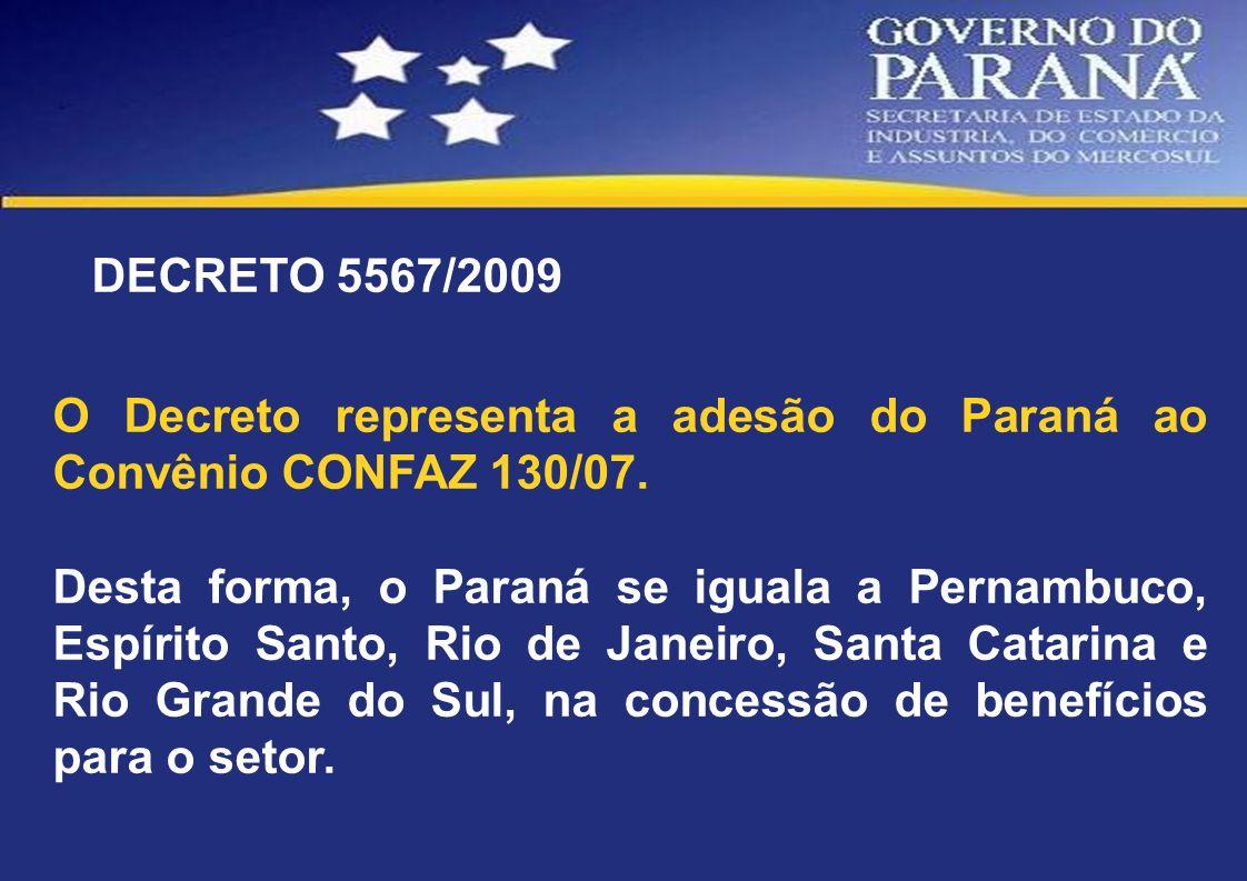 DECRETO 5567/2009 O Decreto representa a adesão do Paraná ao Convênio CONFAZ 130/07.