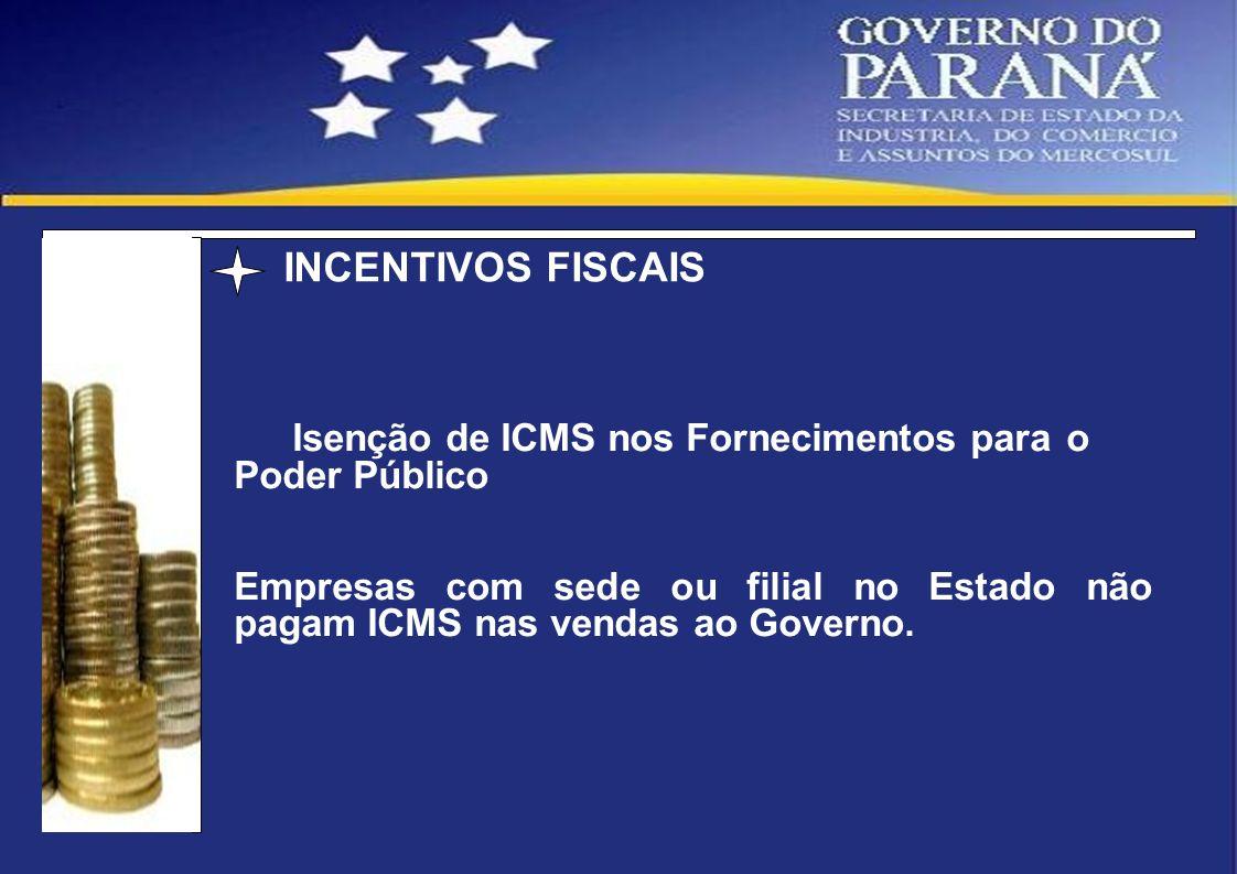 INCENTIVOS FISCAIS Isenção de ICMS nos Fornecimentos para o Poder Público.