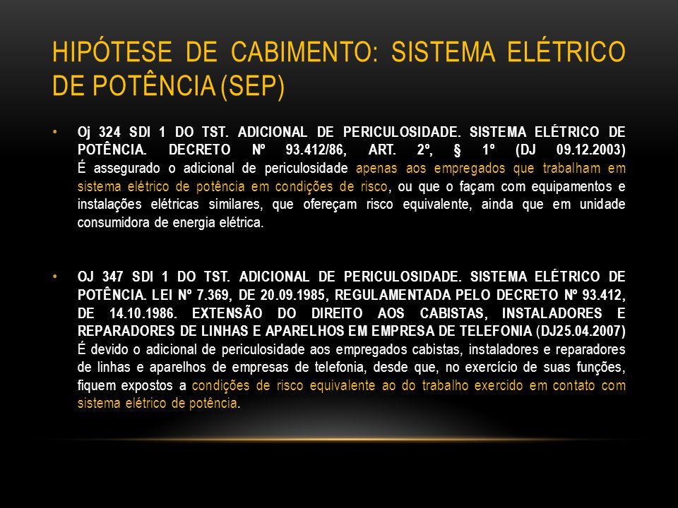 hipótese de cabimento: SISTEMA ELÉTRICO DE POTÊNCIA (SEP)