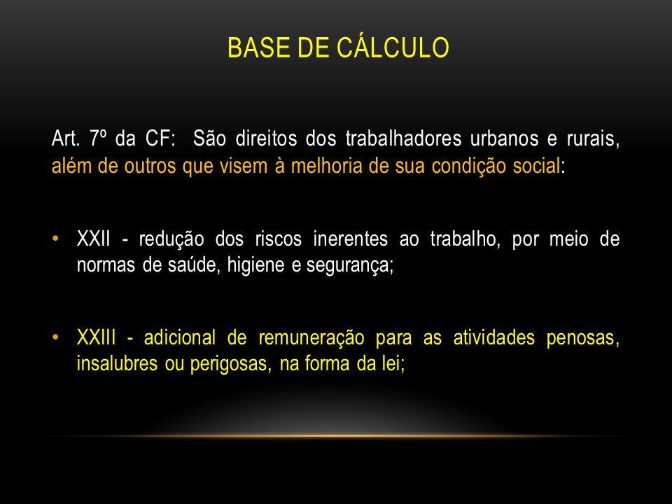 BASE DE CÁLCULO Art. 7º da CF: São direitos dos trabalhadores urbanos e rurais, além de outros que visem à melhoria de sua condição social: