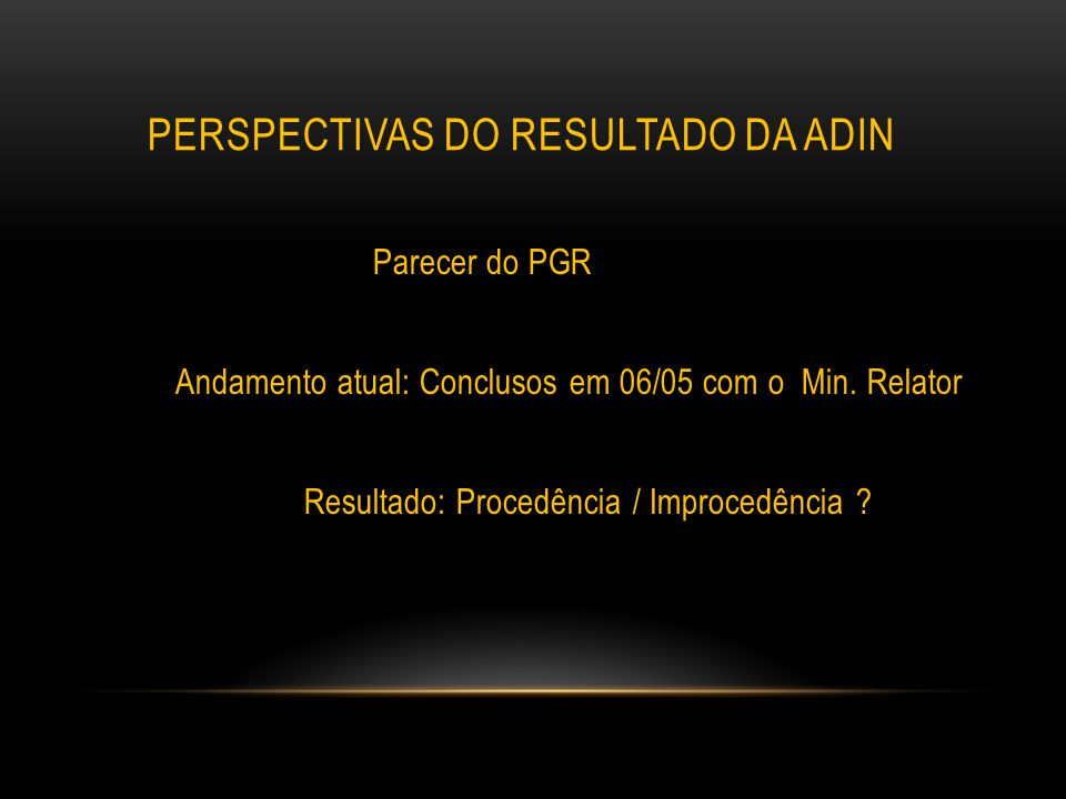 perspectivas do resultado da adin