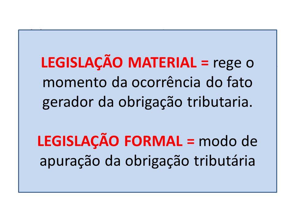 LEGISLAÇÃO FORMAL = modo de apuração da obrigação tributária