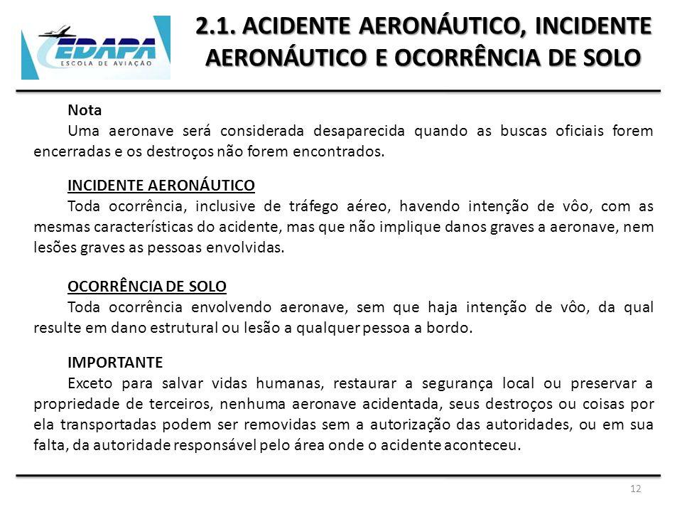2.1. ACIDENTE AERONÁUTICO, INCIDENTE AERONÁUTICO E OCORRÊNCIA DE SOLO