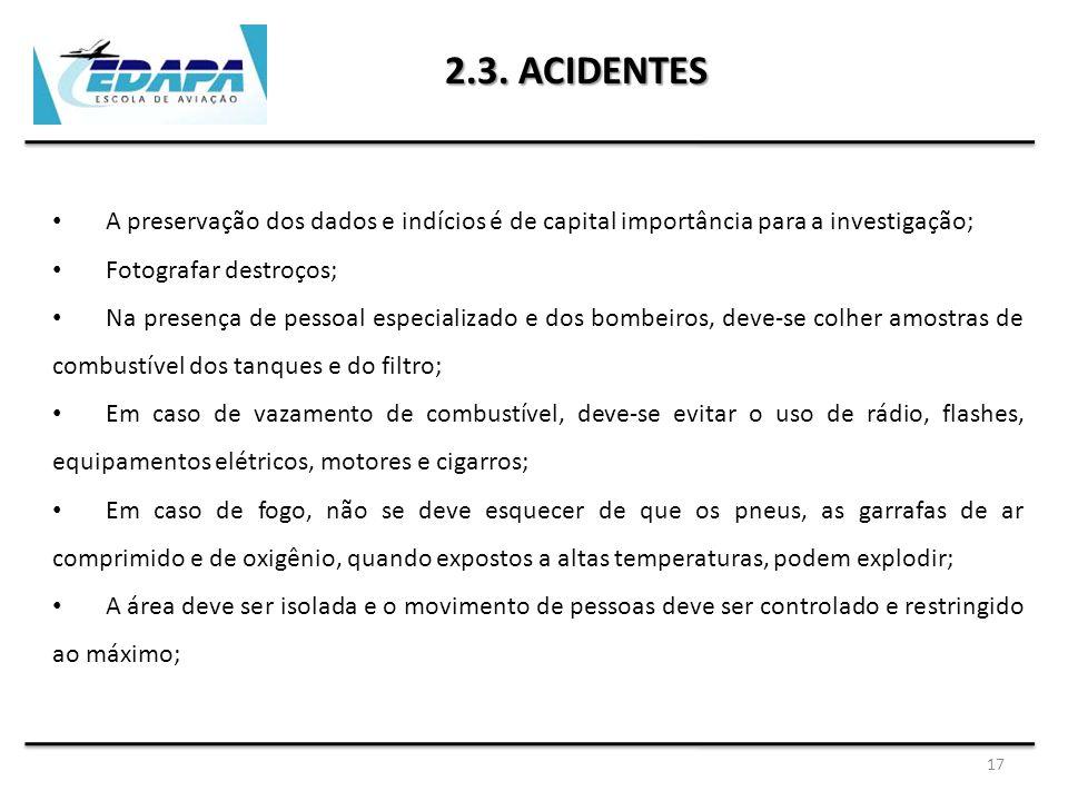 2.3. ACIDENTES A preservação dos dados e indícios é de capital importância para a investigação; Fotografar destroços;