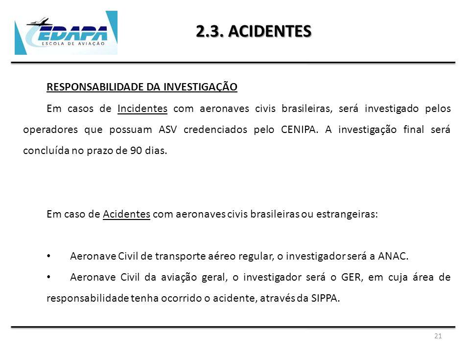 2.3. ACIDENTES RESPONSABILIDADE DA INVESTIGAÇÃO