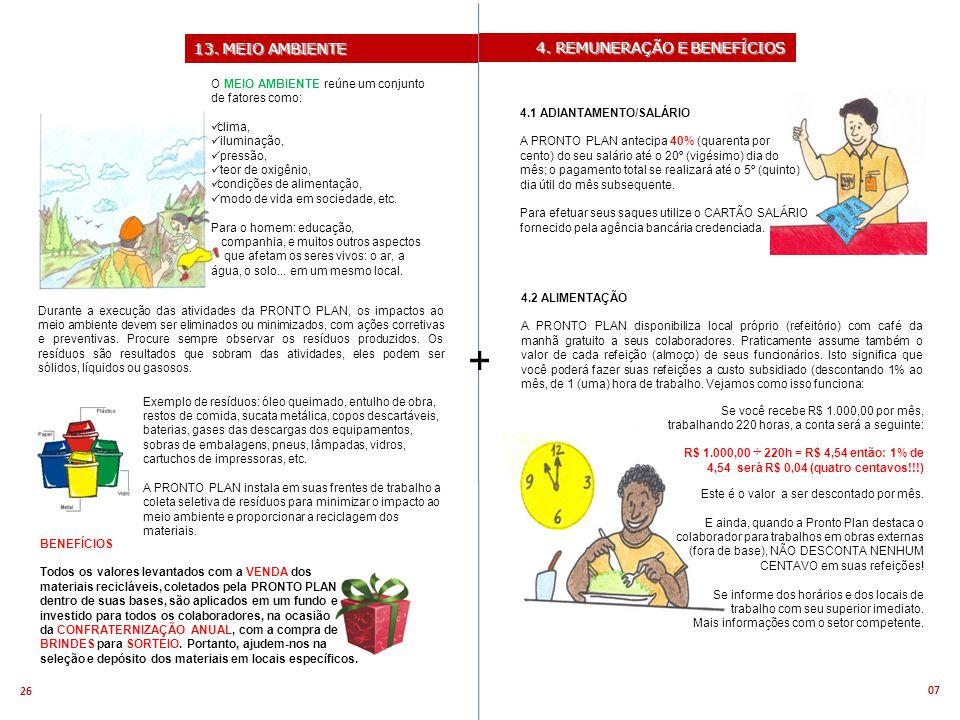 + 13. MEIO AMBIENTE 4. REMUNERAÇÃO E BENEFÍCIOS
