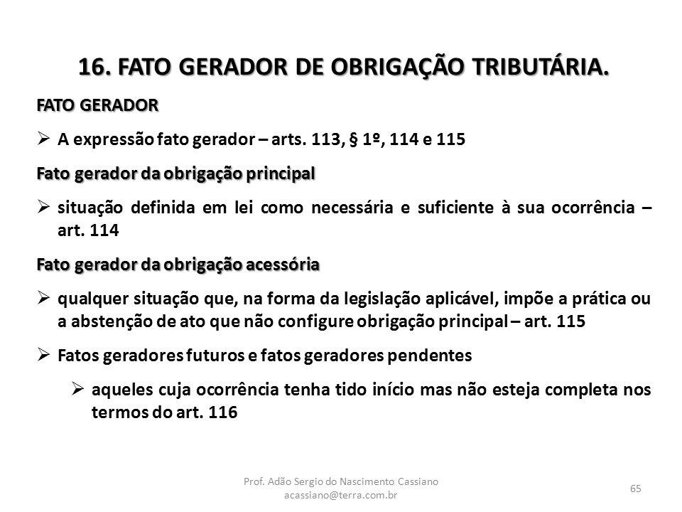 16. FATO GERADOR DE OBRIGAÇÃO TRIBUTÁRIA.
