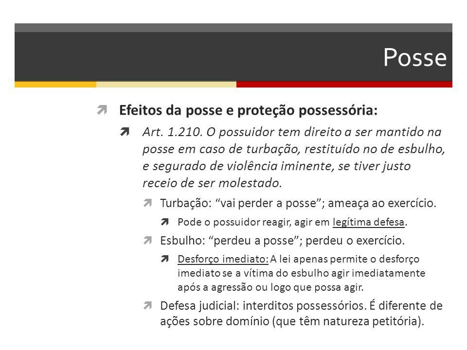 Posse Efeitos da posse e proteção possessória: