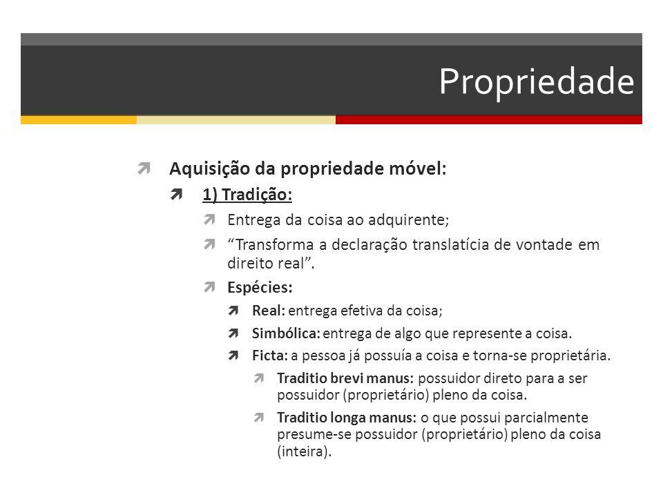 Propriedade Aquisição da propriedade móvel: 1) Tradição:
