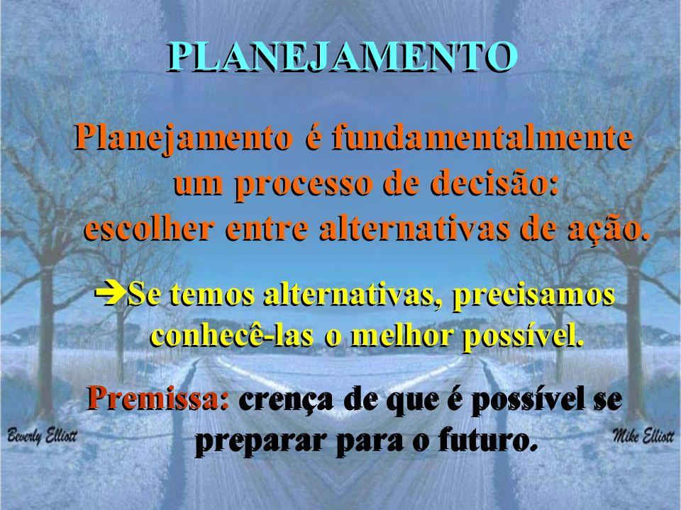 PLANEJAMENTO Planejamento é fundamentalmente um processo de decisão: escolher entre alternativas de ação.