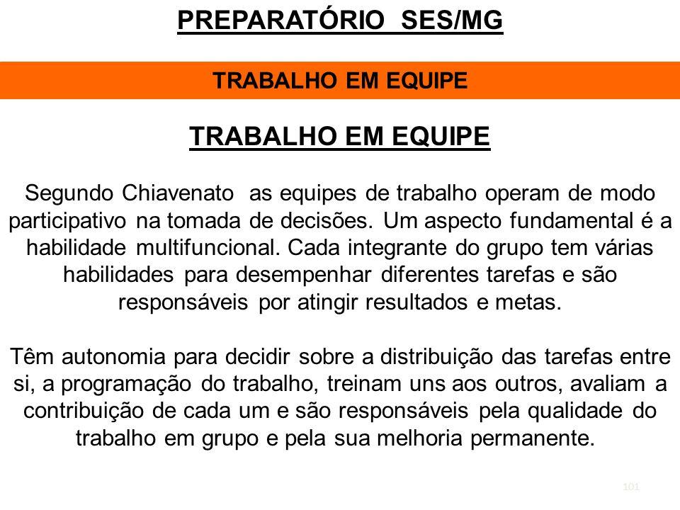 PREPARATÓRIO SES/MG TRABALHO EM EQUIPE