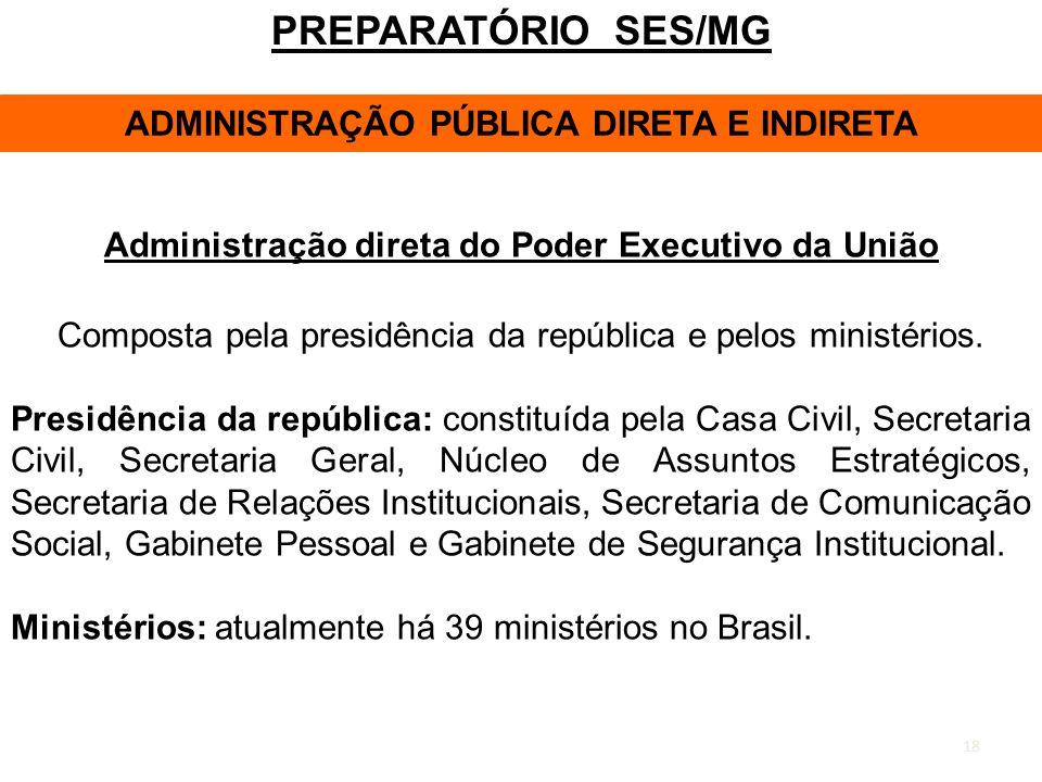 PREPARATÓRIO SES/MG ADMINISTRAÇÃO PÚBLICA DIRETA E INDIRETA
