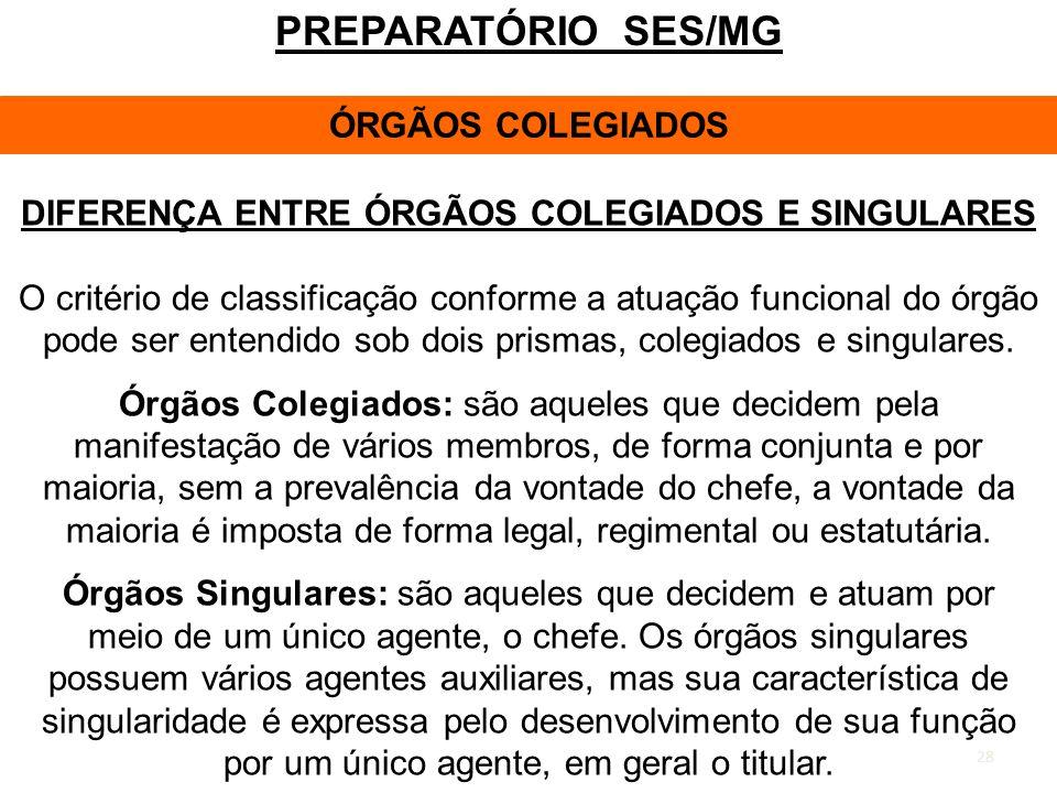 DIFERENÇA ENTRE ÓRGÃOS COLEGIADOS E SINGULARES
