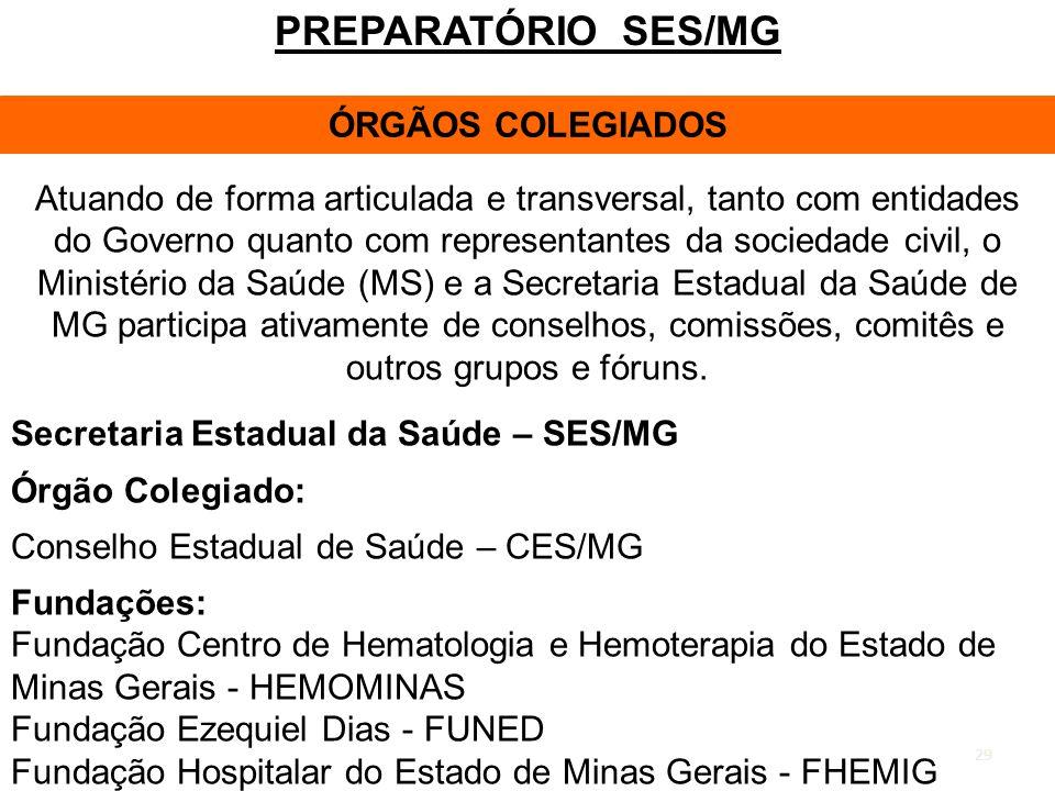 PREPARATÓRIO SES/MG ÓRGÃOS COLEGIADOS