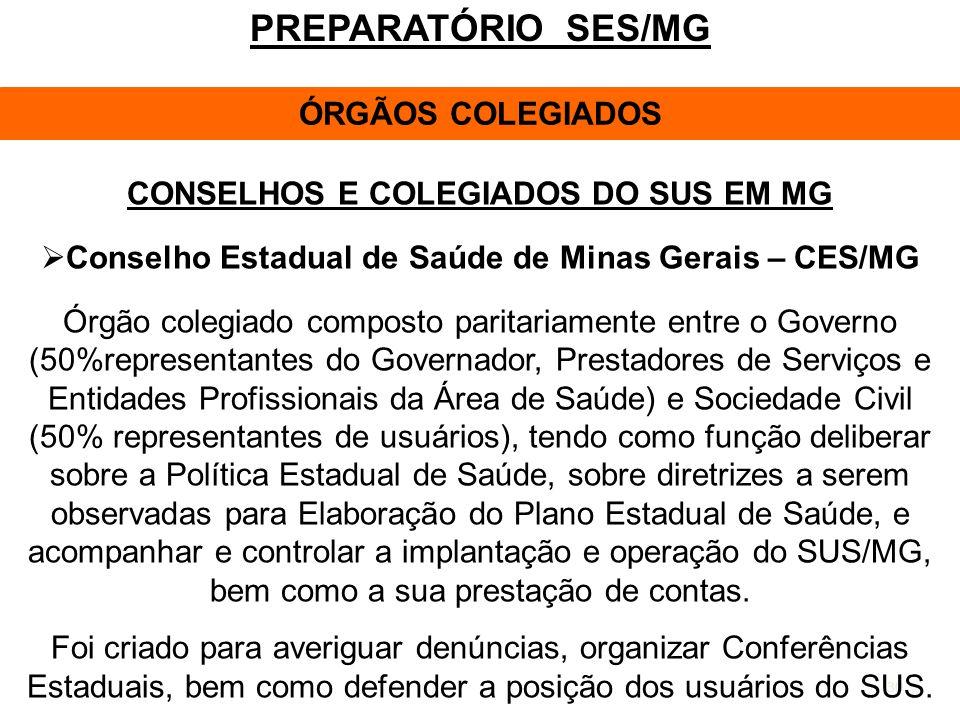 CONSELHOS E COLEGIADOS DO SUS EM MG