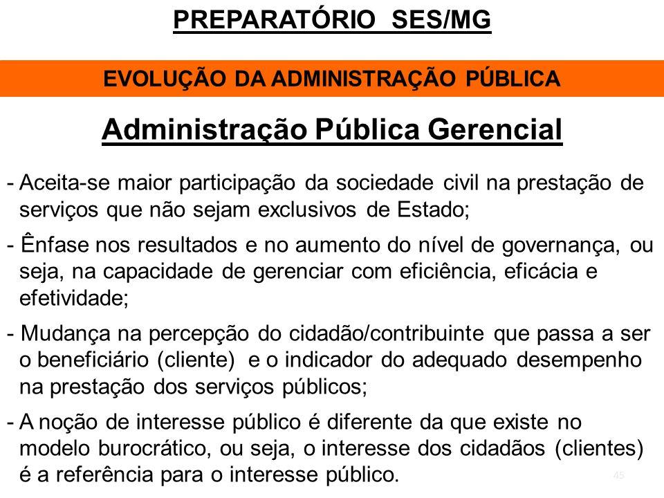 EVOLUÇÃO DA ADMINISTRAÇÃO PÚBLICA Administração Pública Gerencial
