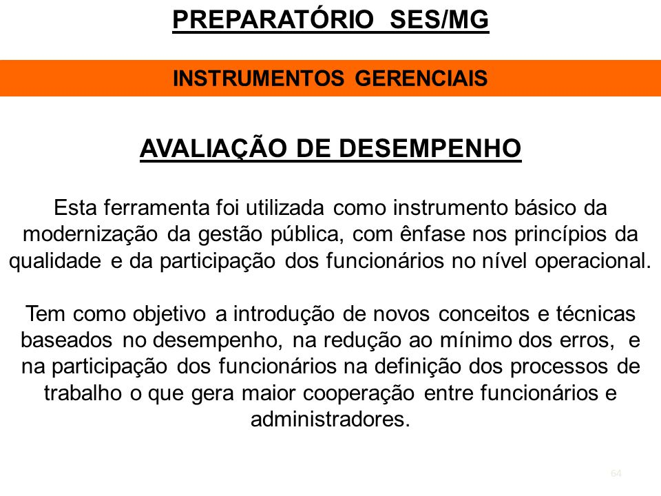 INSTRUMENTOS GERENCIAIS AVALIAÇÃO DE DESEMPENHO