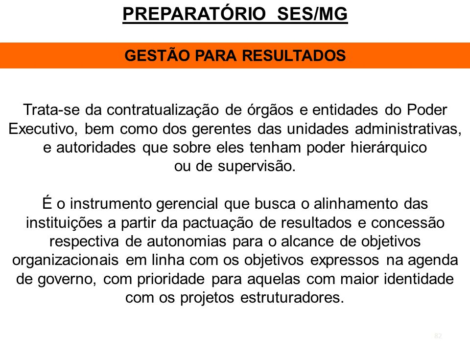 GESTÃO PARA RESULTADOS