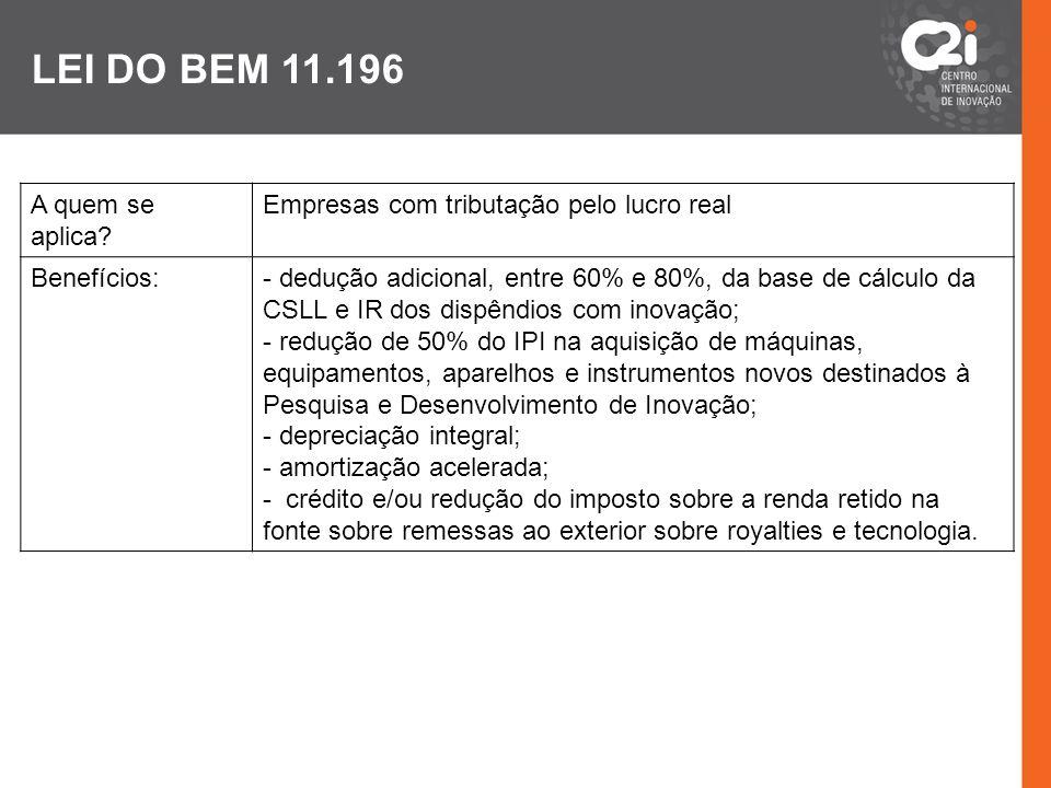 LEI DO BEM 11.196 A quem se aplica