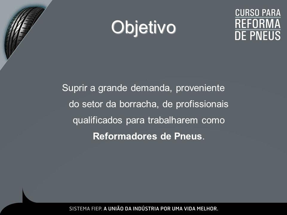Objetivo Suprir a grande demanda, proveniente do setor da borracha, de profissionais qualificados para trabalharem como Reformadores de Pneus.