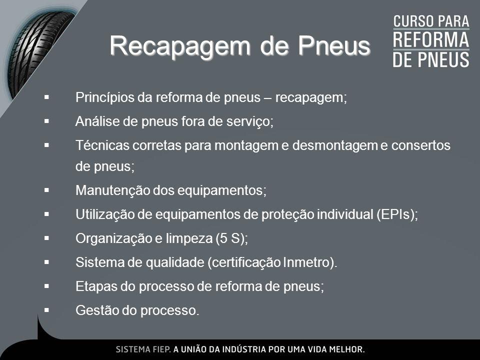 Recapagem de Pneus Princípios da reforma de pneus – recapagem;