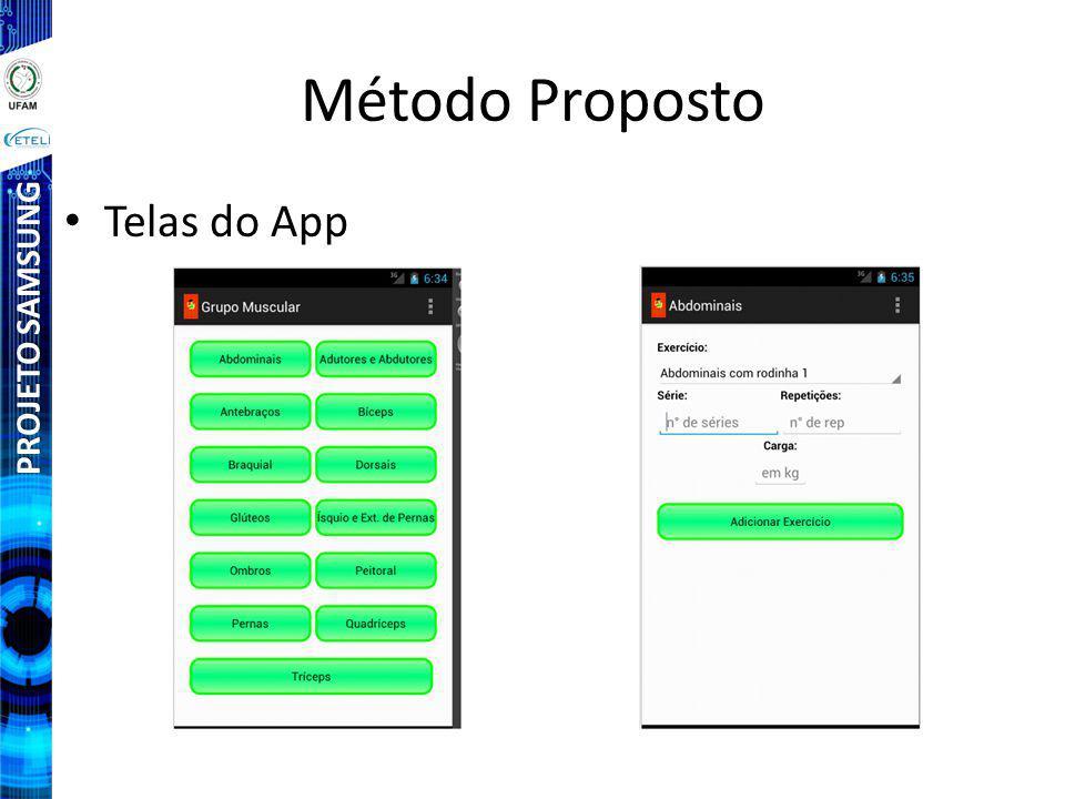 Método Proposto Telas do App PROJETO SAMSUNG
