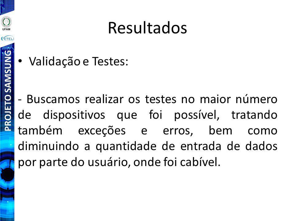 Resultados Validação e Testes: