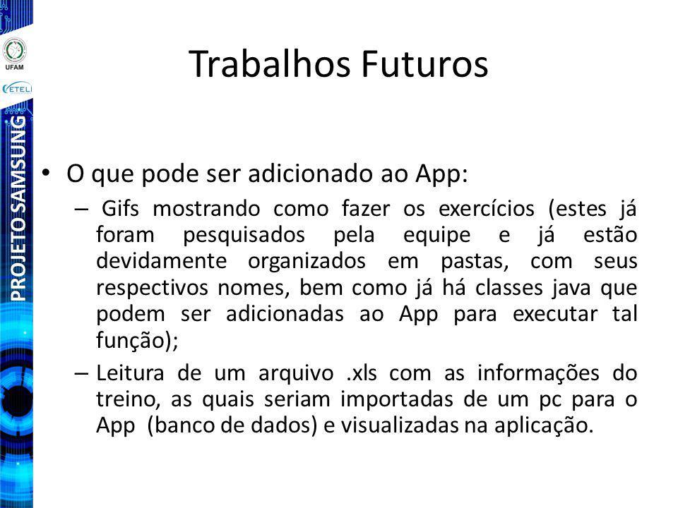 Trabalhos Futuros O que pode ser adicionado ao App: