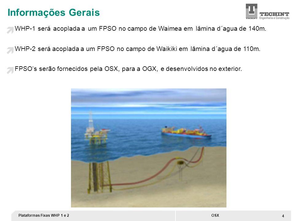 Informações Gerais WHP-1 será acoplada a um FPSO no campo de Waimea em lâmina d´agua de 140m.