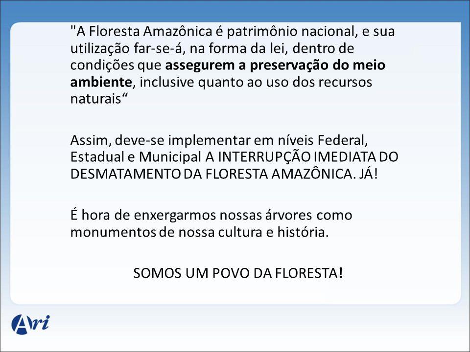 A Floresta Amazônica é patrimônio nacional, e sua utilização far-se-á, na forma da lei, dentro de condições que assegurem a preservação do meio ambiente, inclusive quanto ao uso dos recursos naturais Assim, deve-se implementar em níveis Federal, Estadual e Municipal A INTERRUPÇÃO IMEDIATA DO DESMATAMENTO DA FLORESTA AMAZÔNICA.