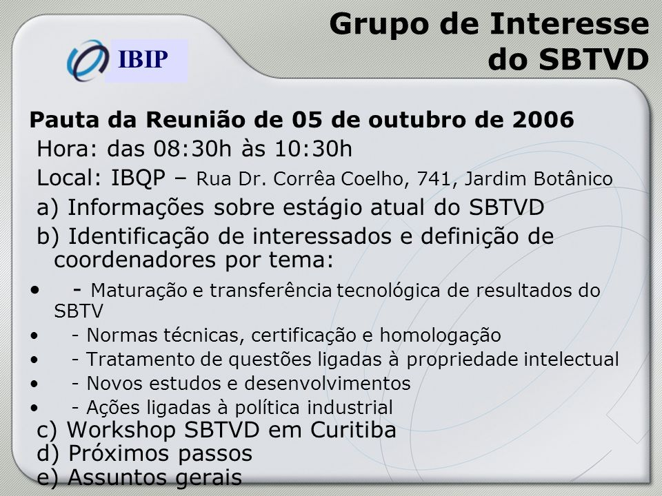 Grupo de Interesse do SBTVD