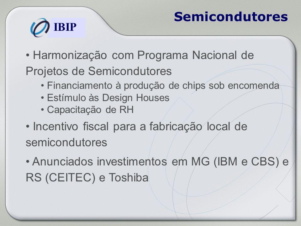 Semicondutores Harmonização com Programa Nacional de Projetos de Semicondutores. Financiamento à produção de chips sob encomenda.