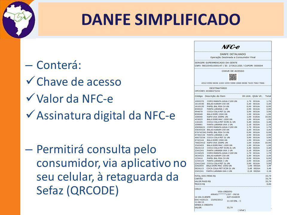 DANFE SIMPLIFICADO Conterá: Chave de acesso Valor da NFC-e