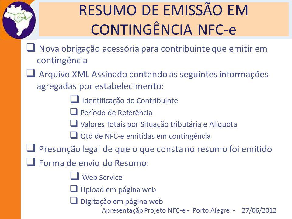 RESUMO DE EMISSÃO EM CONTINGÊNCIA NFC-e