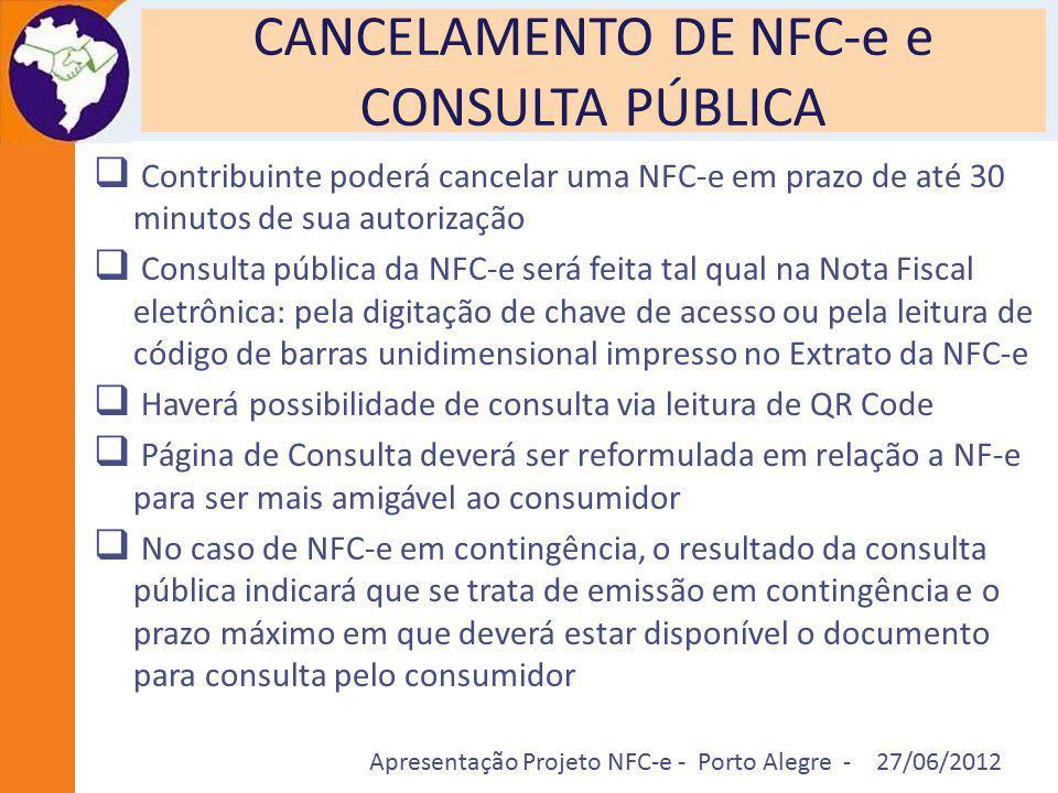 CANCELAMENTO DE NFC-e e CONSULTA PÚBLICA