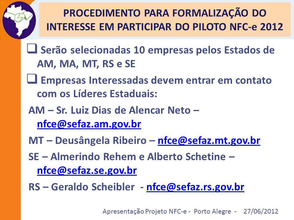 PROCEDIMENTO PARA FORMALIZAÇÃO DO INTERESSE EM PARTICIPAR DO PILOTO NFC-e 2012