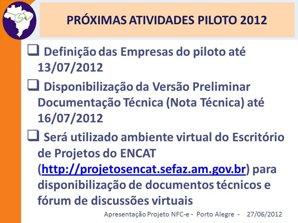 PRÓXIMAS ATIVIDADES PILOTO 2012