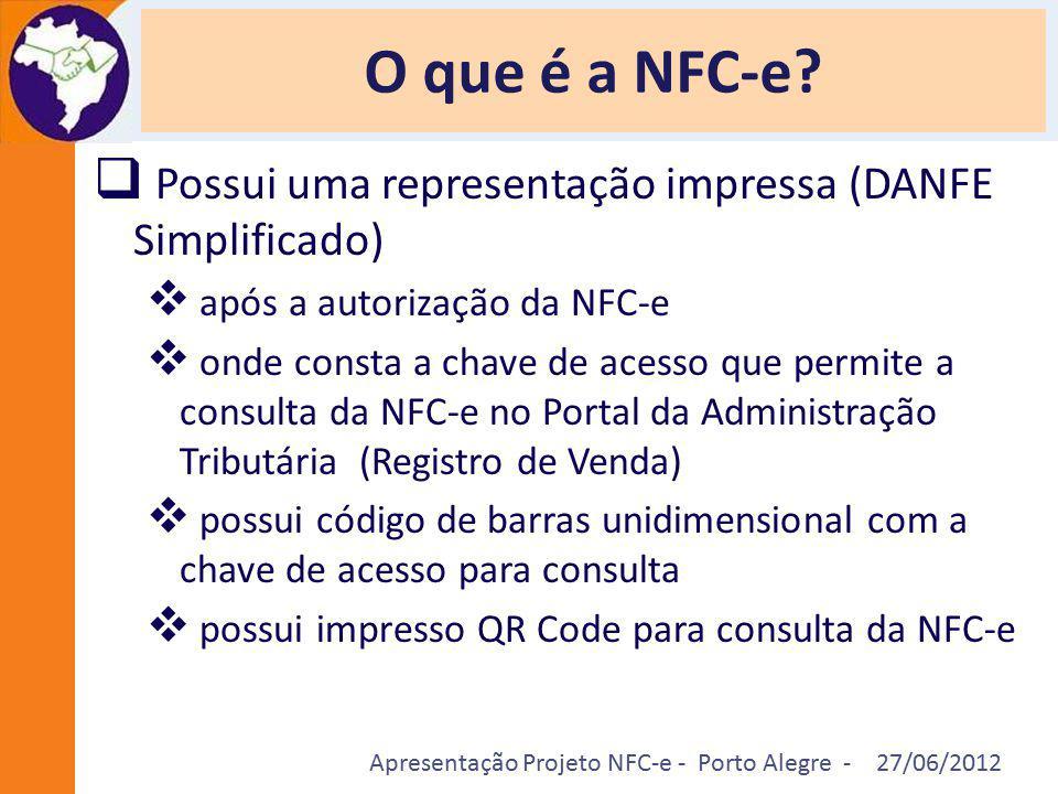 O que é a NFC-e Possui uma representação impressa (DANFE Simplificado) após a autorização da NFC-e.