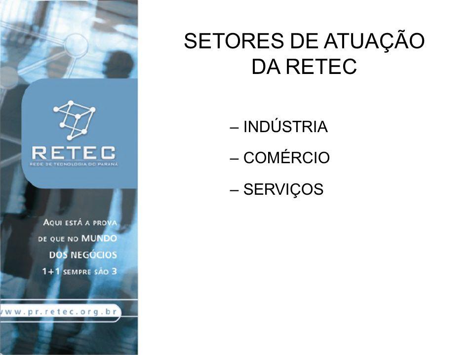 SETORES DE ATUAÇÃO DA RETEC INDÚSTRIA COMÉRCIO SERVIÇOS