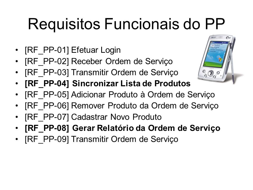 Requisitos Funcionais do PP