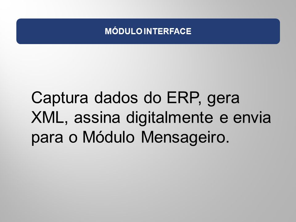MÓDULO INTERFACE Captura dados do ERP, gera XML, assina digitalmente e envia para o Módulo Mensageiro.