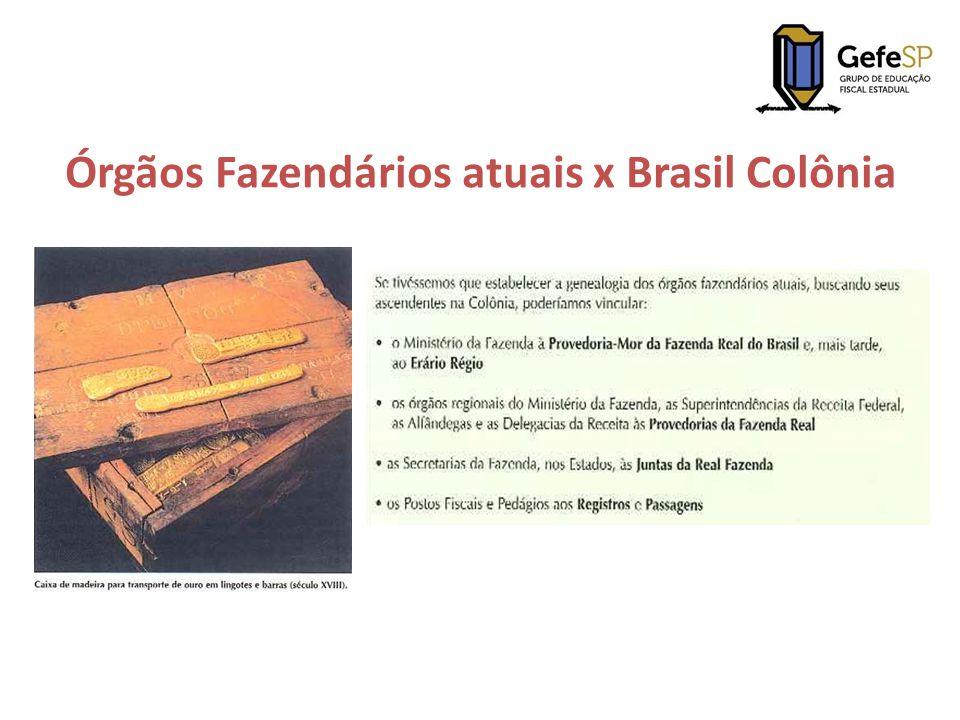 Órgãos Fazendários atuais x Brasil Colônia